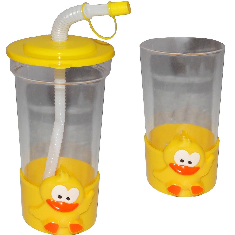 Plastikbech.. lustige Ente inkl mit Strohhalm /& Deckel Trinklernbecher 400 ml // 0,4 Liter alles-meine.de GmbH Trinkbecher // Trinkflasche Name Becher // Sommerglas