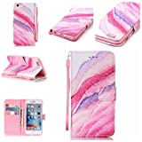 """iPhone 6 Plus/6S Plus Case [Free Tempered Glass Screen Protector],Mo-Beauty® PU Leather Wallet Case With Hand Wrist Strap,Full Body Colorful Pattern Design Flip PU Leather Wallet Card Slot Stand Case Cover For iPhone 6 Plus/6S Plus 5.5"""" inch (Pink,sand)"""