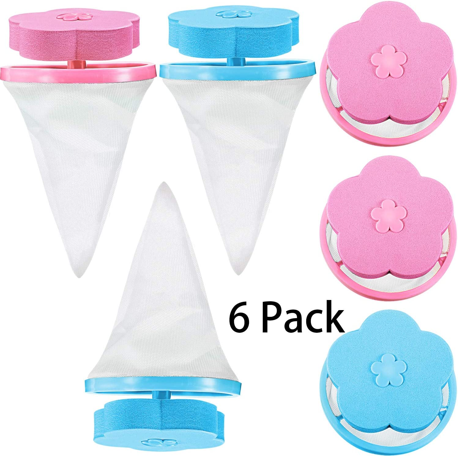 6 Pieces Lint Catcher Washing Machine Lint Traps Lint Mesh Bag Household Reusable Hair Filter Net Pouch, Blue and Pink