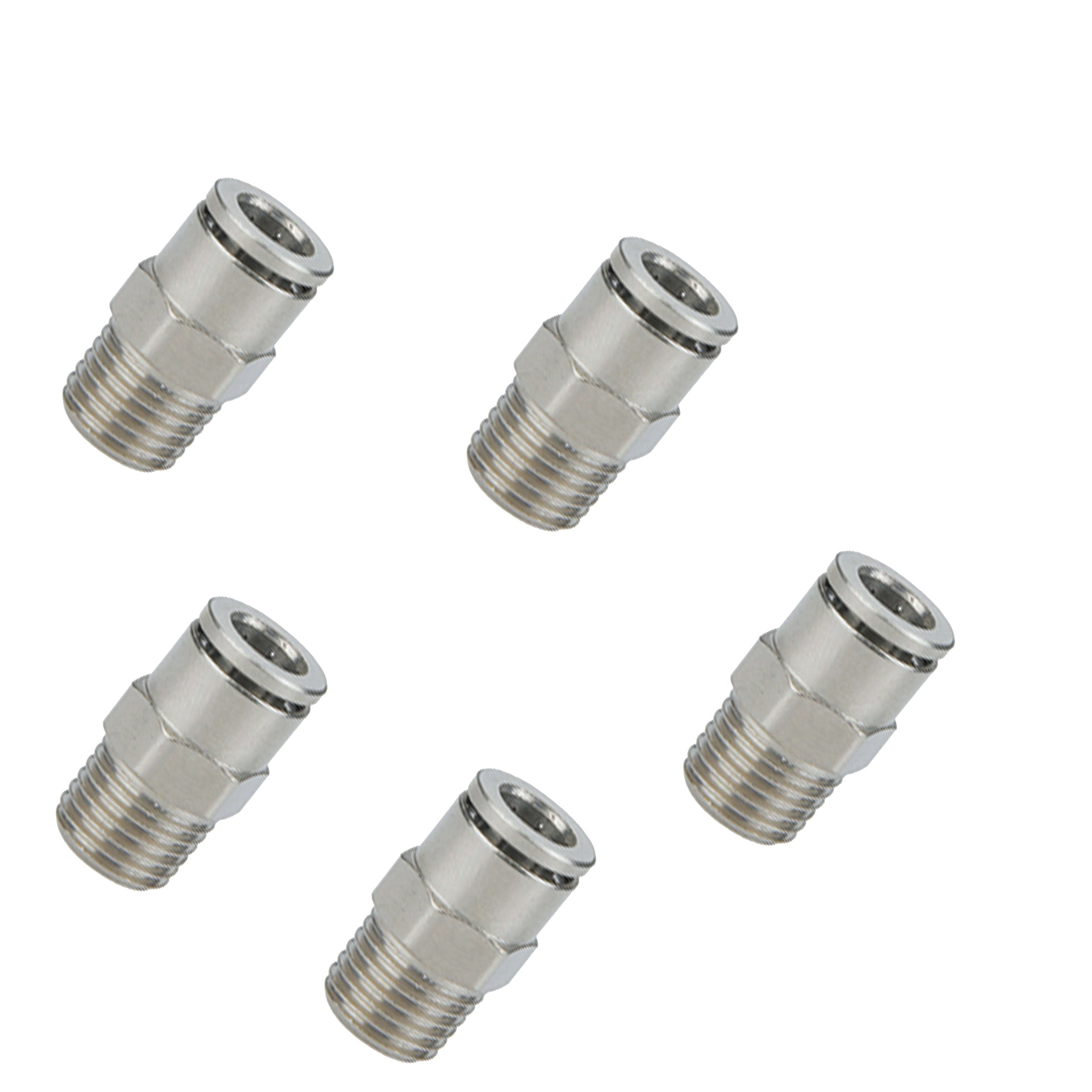 Utah Pneumatic Push To Connect Fittings Nickel-Plated Brass Pc Male Straight 1/4''Od 1/8''Npt Thread Straight Connect Push Fit Fittings Tube Fittings Pneumatic Fittings 5 Pack (1/4od1/8Npt Brass) 5 pack
