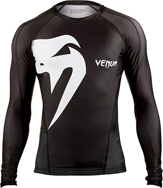 Black//White SIZE LARGE Venum Giant Long Sleeve MMA Rashguard
