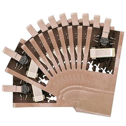 25 marrón bolsa de regalo con base de pergamino con madera ...