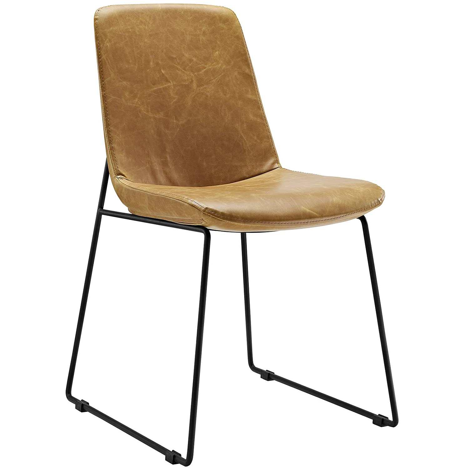 Modway Invite Mid-Century Modern Faux Leather Upholstered Kitchen and Dining Room Chair in Tan
