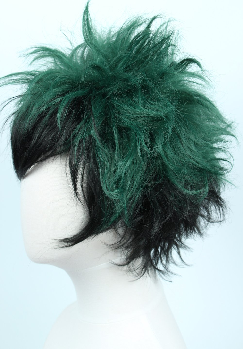 Linfairy Anime Cosplay Wig Short Black Green Halloween Costume Curly Wig by Linfairy (Image #4)