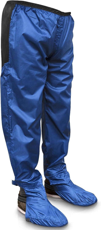 Rainrider Regenhose für Damen und Herren (schwarz |blau) wasserdicht inkl. abnehmbare Schuhüberzieher - Fahrradbekleidung