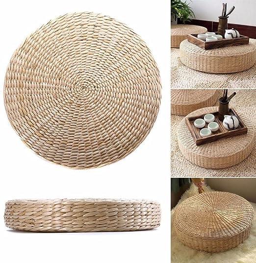 Pour jardin et salle /à manger Style japonais Respectueux de lenvironnement Coussin de sol rond en paille tiss/ée /à la main Blanc