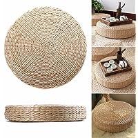 GEZICHTA - Cojín para césped, cojín de paja redondo, cojín para asiento de yoga, tapete para el suelo, comedor, decoración del hogar,…