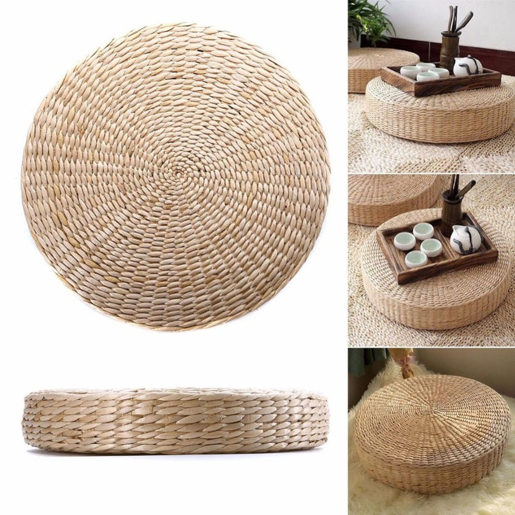 Woven Straw Cushion Round Pouf Tatami Chair Pad Yoga Seat Pillow Knitted Floor Mat Garden Dining Room Home Decor Outdoor (40cm x 6 cm)