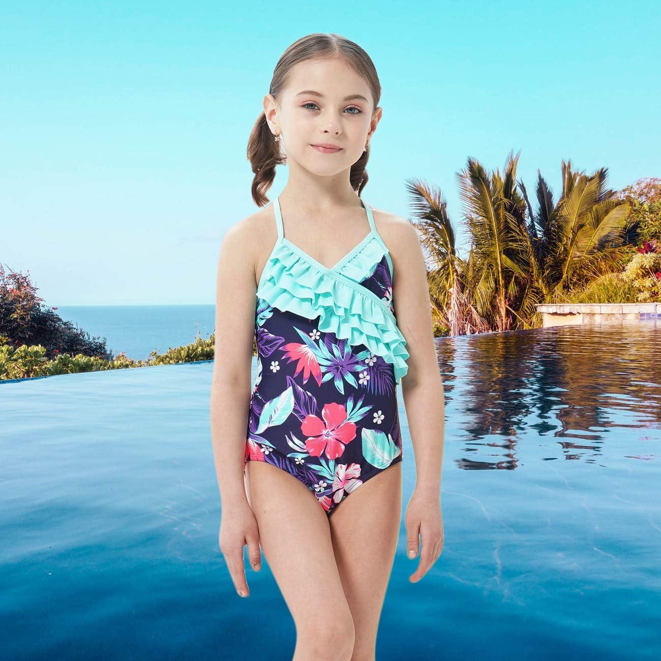 Moon Tree Girls One Piece Bathing Suit Hawaiian Ruffle Swimsuits Kids Beach Floral Swimwear 2-14 Years