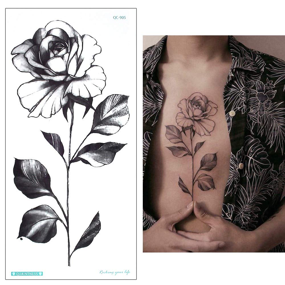 Rosas tatuaje pegatinas Fake Tattoo Negro qc905: Amazon.es: Belleza