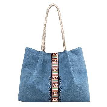 e972340adf590 PB-SOAR Damen Vintage Canvas Shopper Schultertasche Henkeltasche Handtasche  Beuteltasche Freizeittasche mit trendigem Druck (