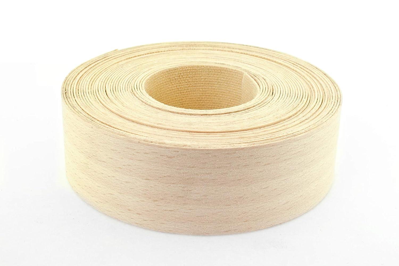 Chapa de madera de haya chapa de borde/de bandas de borde al vapor cinta (30 mm x 7, 5 m longitud) –  grado superior pre-glued DIY para planchar (Hotmelt) chapa de tejido y pulido borde rollos Chameleon Stationers of London