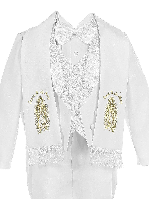 iGirldress Baby//Toddler//Boys White Baptism Christening Paisley Lapel Tuxedo with Angel Maria Scarf Estola