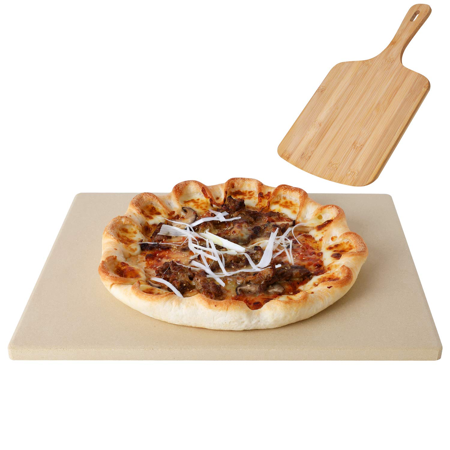 """femor Pizza Grilling Stone 15""""x12"""" with Pizza Peel & Recipe- Rectangular Baking Stone for Oven, Grill & BBQ"""