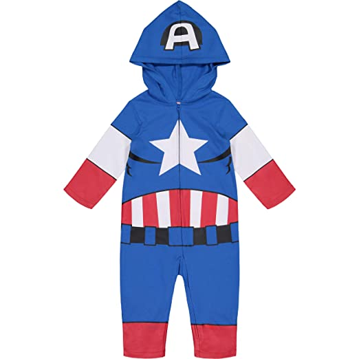a11409e1ca2 Marvel Avengers Captain America Toddler Boys  Zip-Up Hooded Costume  Coverall ...
