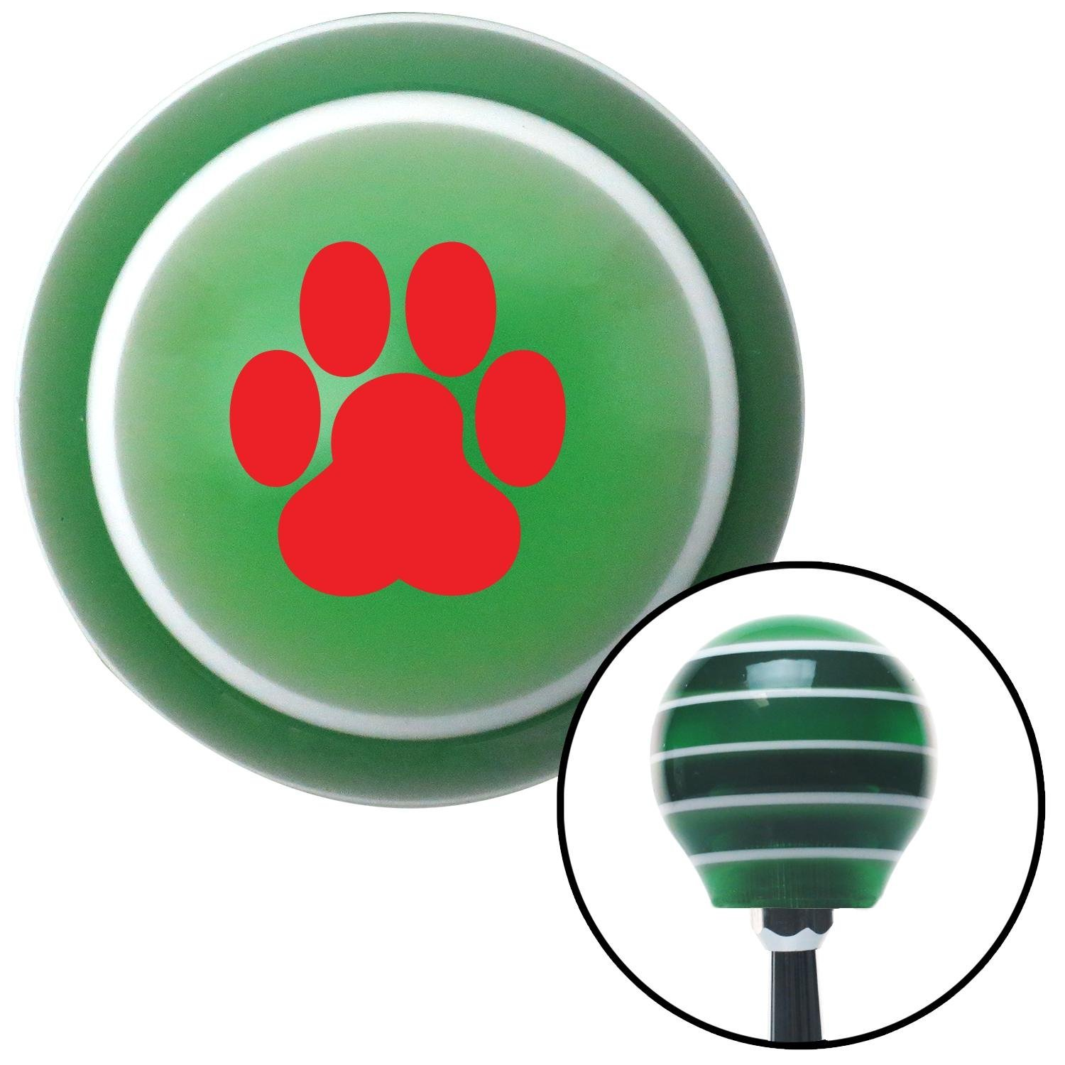 American Shifter 121063 Green Stripe Shift Knob with M16 x 1.5 Insert Red Pawprint