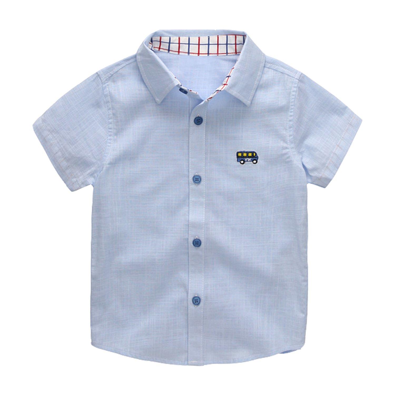 Evelin LEE Baby Boys Short Sleeve Organic Button Down Woven Shirt 05LFA1158-ZL