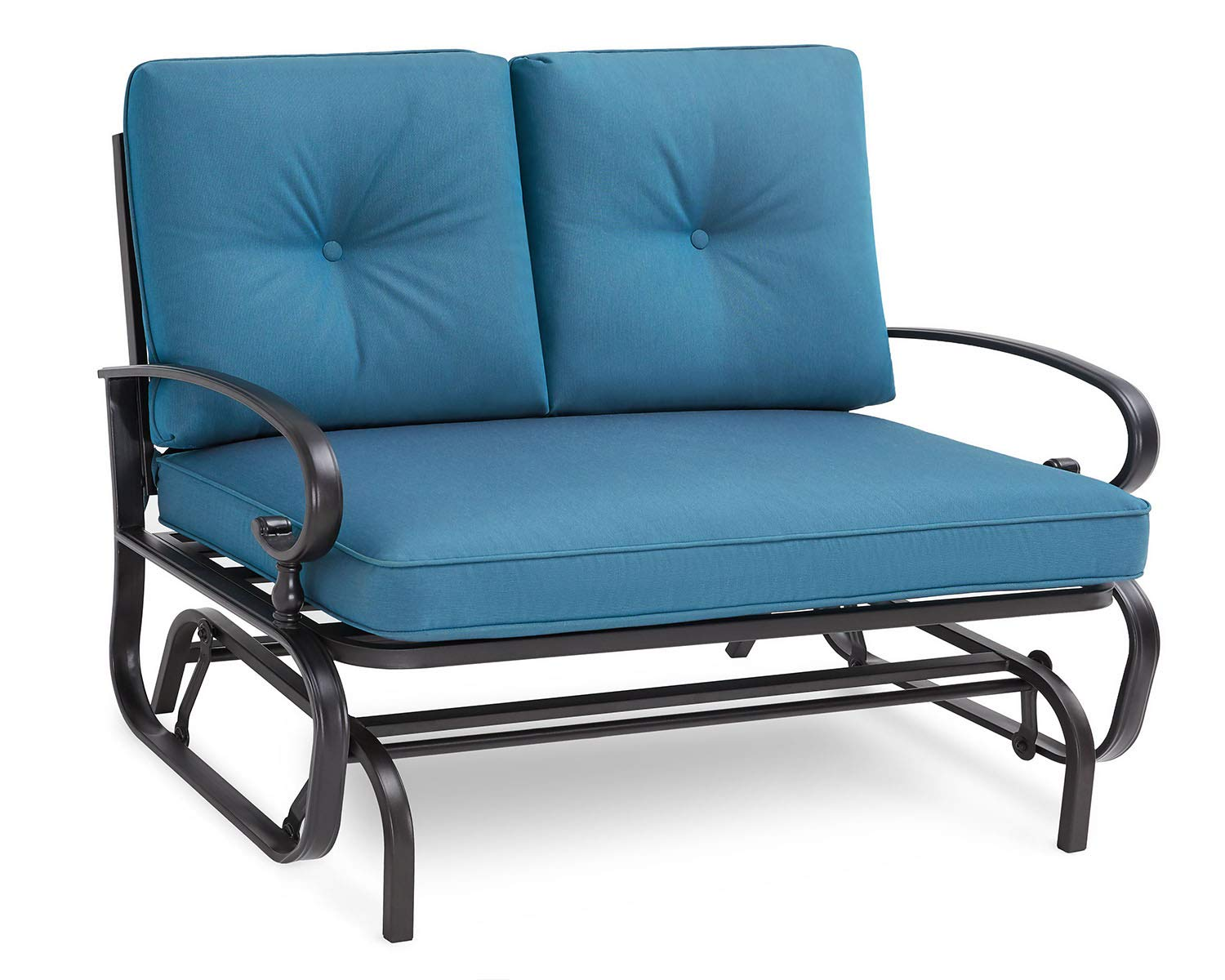 SOLAURA Patio Outdoor Furniture Loveseat Glider Wrought Iron Frame Peacock Blue Cushions Bench Sofa by SOLAURA