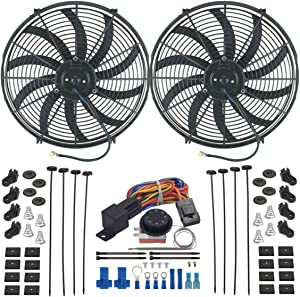 """American Volt Dual Reversible 12V Electric Engine Radiator Cooling Fan & Adjustable Thermostat Switch Kit (16"""" Inch)"""