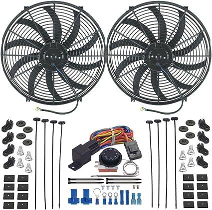 American V Dual 16 pulgadas Radiador eléctrico fan-s ajustable ...