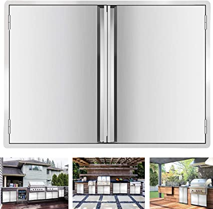 Amazon Com Minneer Outdoor Kitchen Door 24x24 Inch Double Wall Bbq Access Door 304 All Brushed Stainless Steel Double Bbq Door For Bbq Island Outside Cabinet Barbecue Grill Outdoor Kitchen Garden