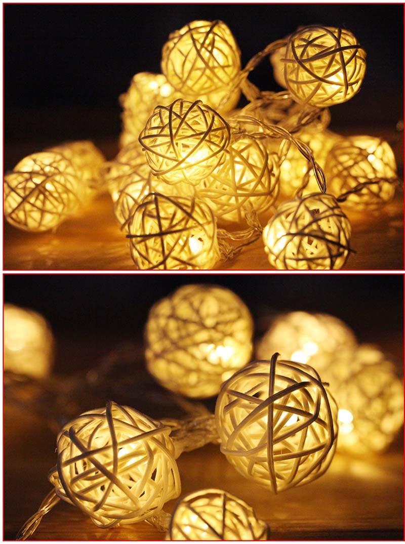 White : Szvfun Rattan Ball String Lights 2.5M 20 LED Fairy Lights Battery White Handmade Thai Light Chain Party Wedding Christmas Decor by Generic