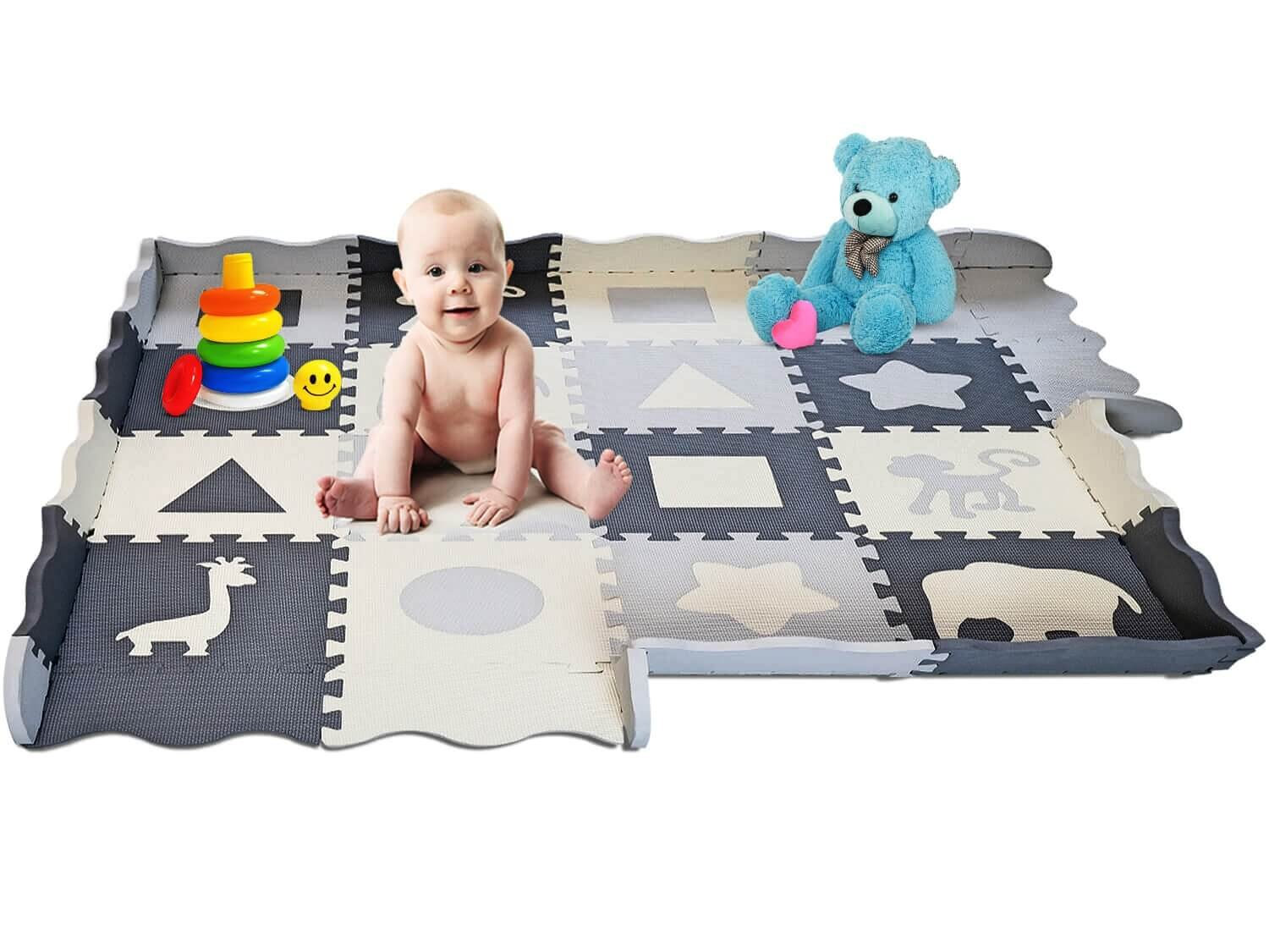 """Soft Foam Baby Play Mat - Interlocking Floor Tiles, Extra Thick (0.80"""")   Non-Toxic, Crawling, Tummy Time Mat   Neutral Colors, Children Play Room & Baby Nurseries   Infant, Baby, Toddler, Kid"""