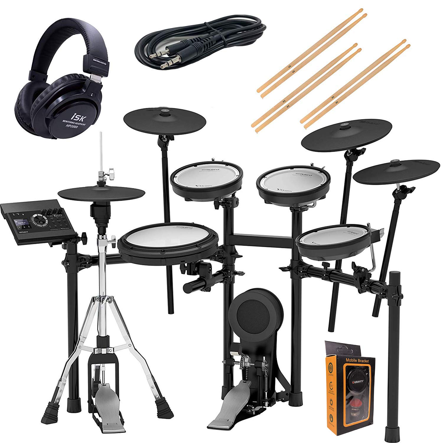 Roland V-Compact Series Electronic Kit, Set (TD-17KVX-S) + Headphone and 3.5mm Aux Cable with Drum Sticks HP2000+M by Roland
