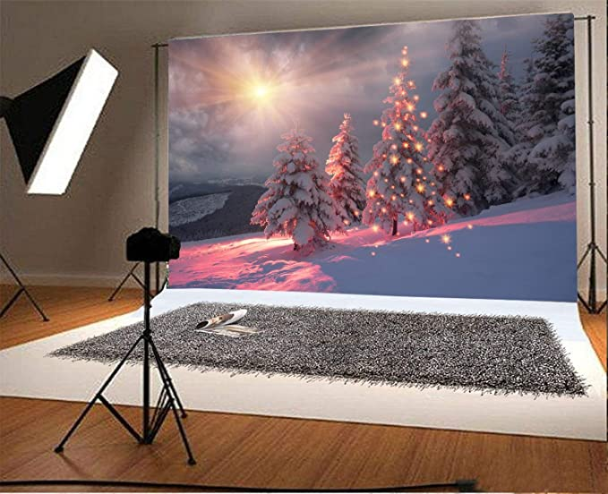 Zhy 7X5FT Winter Park Forest Trees Landscape Vinyl Photography Photo Background Studio Props Christmas Birthday Party Banner Decor Photo Backdrops