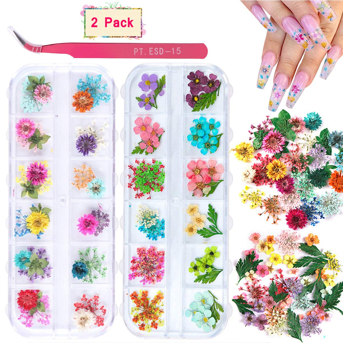 2 Boxes Dried Flowers for Nail Art, KISSBUTY 24 Colors Dry Flowers Mini Real Natural Flowers Nail Art Supplies 3D Applique Nail Decoration Sticker for Tips Manicure Decor (Gypsophila Flowers Leaves): Beauty