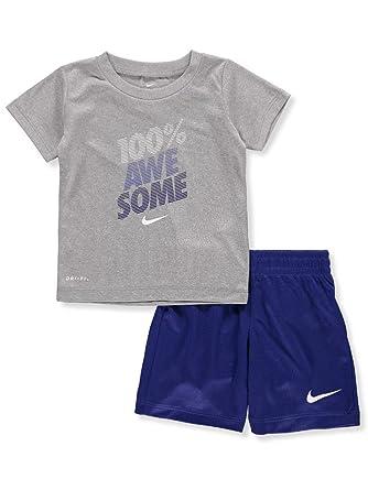 2d12c9c4d Amazon.com: NIKE Children's Apparel Baby Boys Graphic T-Shirt and Shorts  2-Piece Set, Deep Royal Blue/Dark Grey Heather 24M: Clothing
