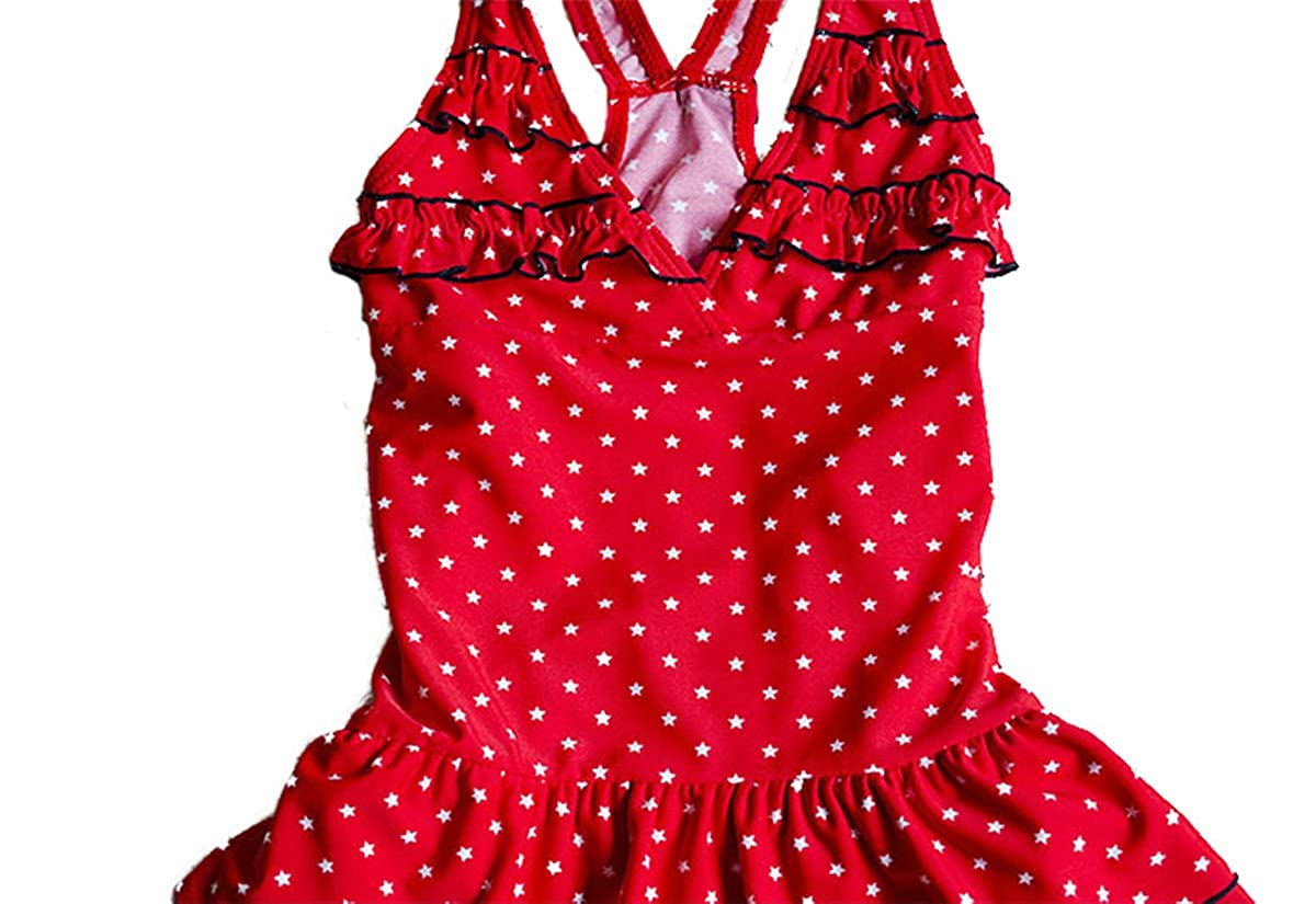 JELEUON Baby Girls Kids Toddler One Piece V-Neck Bowknot Tutu Skirt Bathing Suit Swimsuit Swimwear
