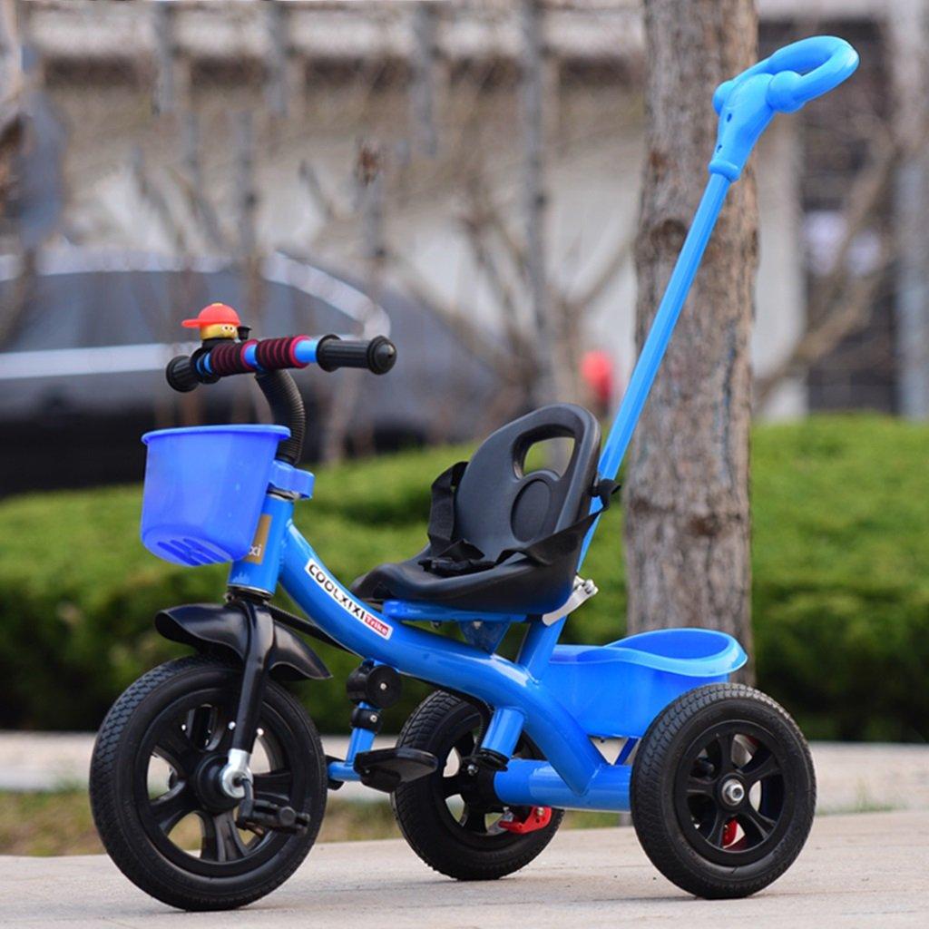 HAIZHEN マウンテンバイク 子供の三輪車リムーバブルプッシュハンドルインフレータブルホイールショックアブソーバ自転車1-5歳の後部収納バスケットベビーベビーカー 新生児 B07DL7ZQ18 青 青