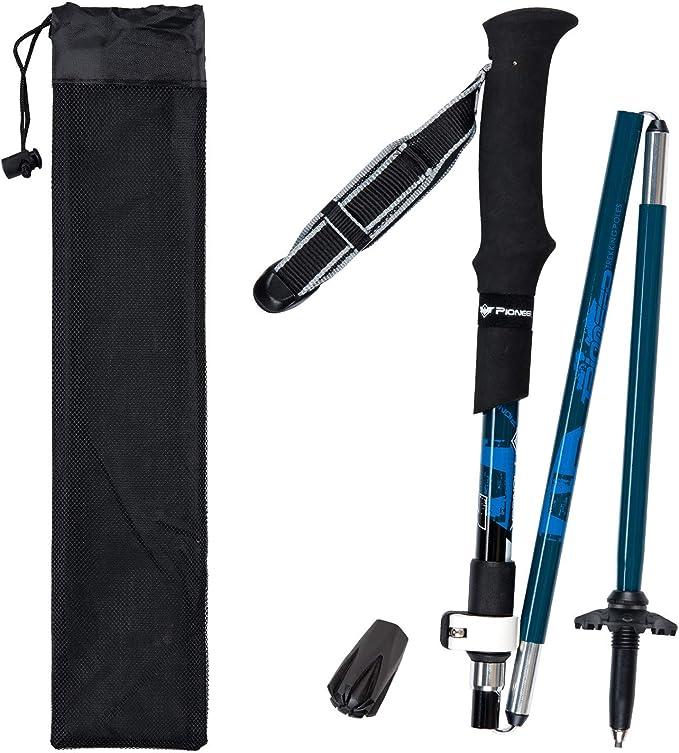Colore Blu bastoni Trekking telescopico,Ultraleggero per lescursionismo Zaino in Spalla Bastoncini da Nordic Walking Trekking - 2 Pack con Antishock e Sistema Quick Lock Campeggio