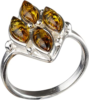 HolidayGiftShops Sterling Silver and Baltic Honey Amber Ring Infinity
