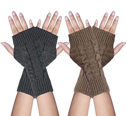3b0a097db Image Unavailable. Oryer 1/2 Pairs Womens Winter Knit Fingerless Gloves  Mittens Thumbhole Crochet Wrist Arm Warmers