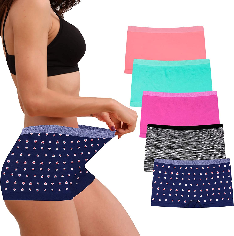 Womens Seamless Underwear Boyshort Ladies Panties Spandex Panty Workout Boxer Briefs 5-Pack