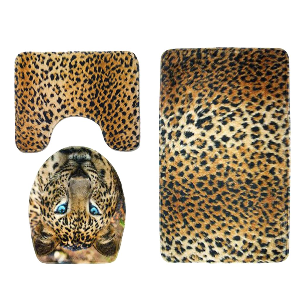 Baoblaze 3pcs Animal Print Non-Slip Rug Bath Mat Bathroom Toilet Seat Lid Cover Set - Leopard