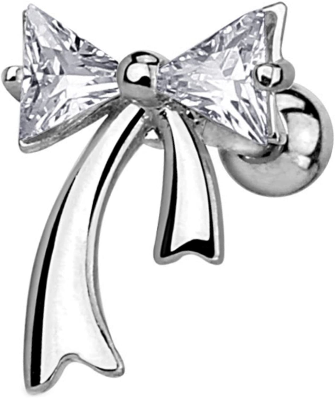 "Two Gem Ribbon Cartilage Tragus Barbell Stud Earring - 16 Gauge 1/4"""