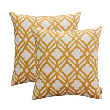 Amazon HWY 40 Pack Of 40 Yellow Embroidered Throw Pillows Covers Mesmerizing Yellow Decorative Bed Pillows