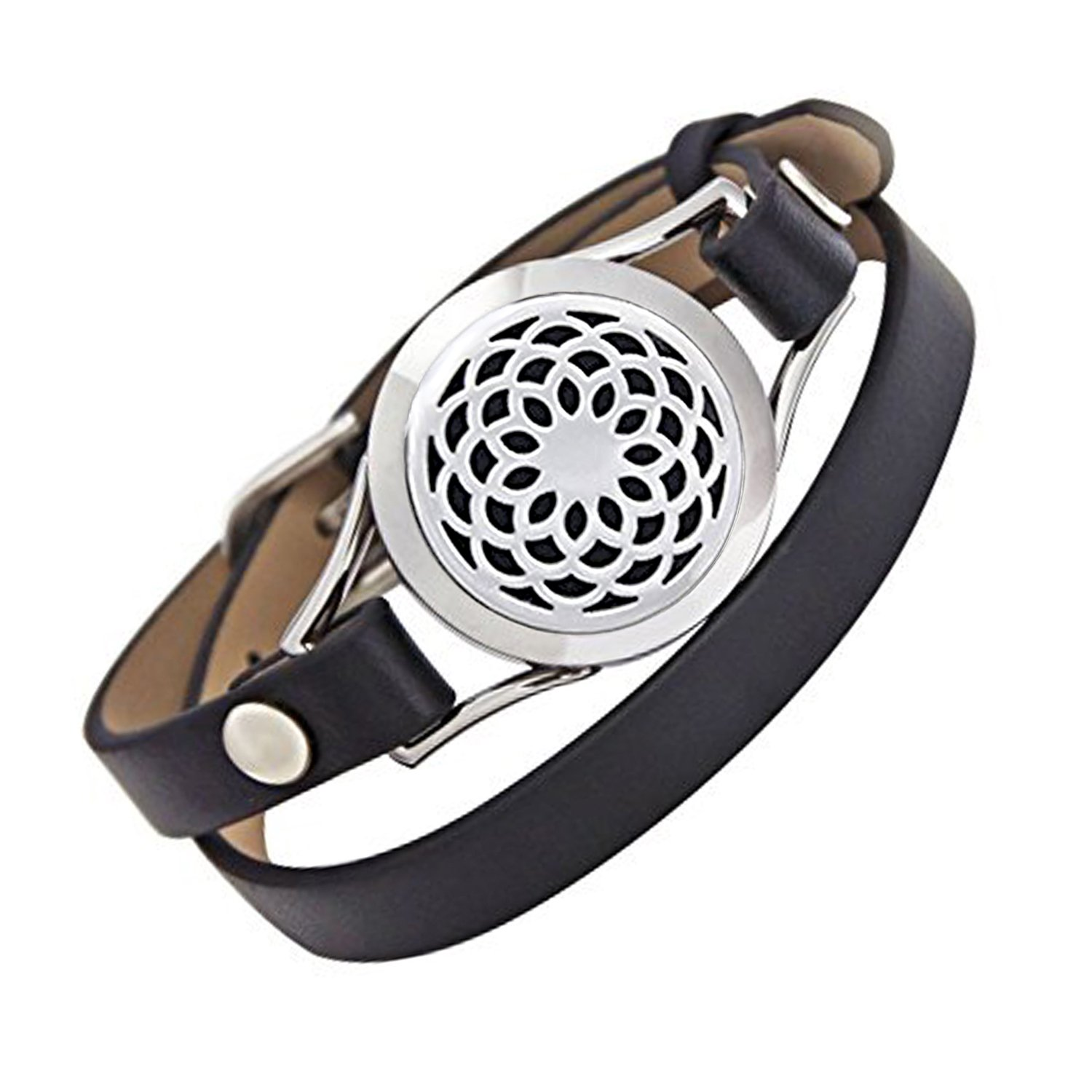 EVERLEAD Carving Round Aromatherapy Essential Oils Diffuser Locket Bracelet 316l Stainless Steel Real Leather Bracelet Everlead Inc LB070S2501