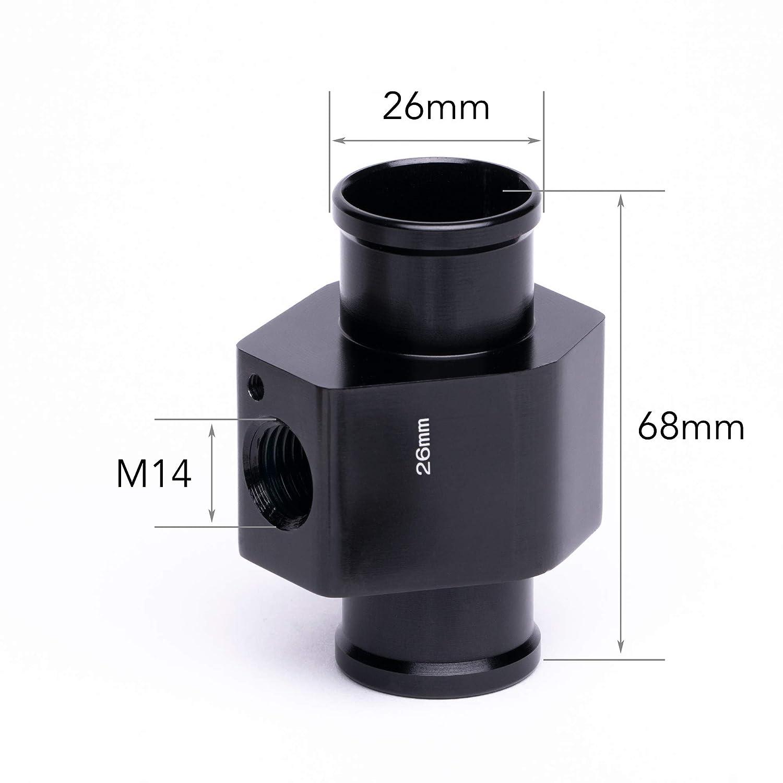 34mm, Ohne Thermoschalter M14 Adapter K/ühlerschlauch K/ühlmittel Wasser Temperatur Geber Gewinde M14 metrisch Zusatz Instrument 34mm