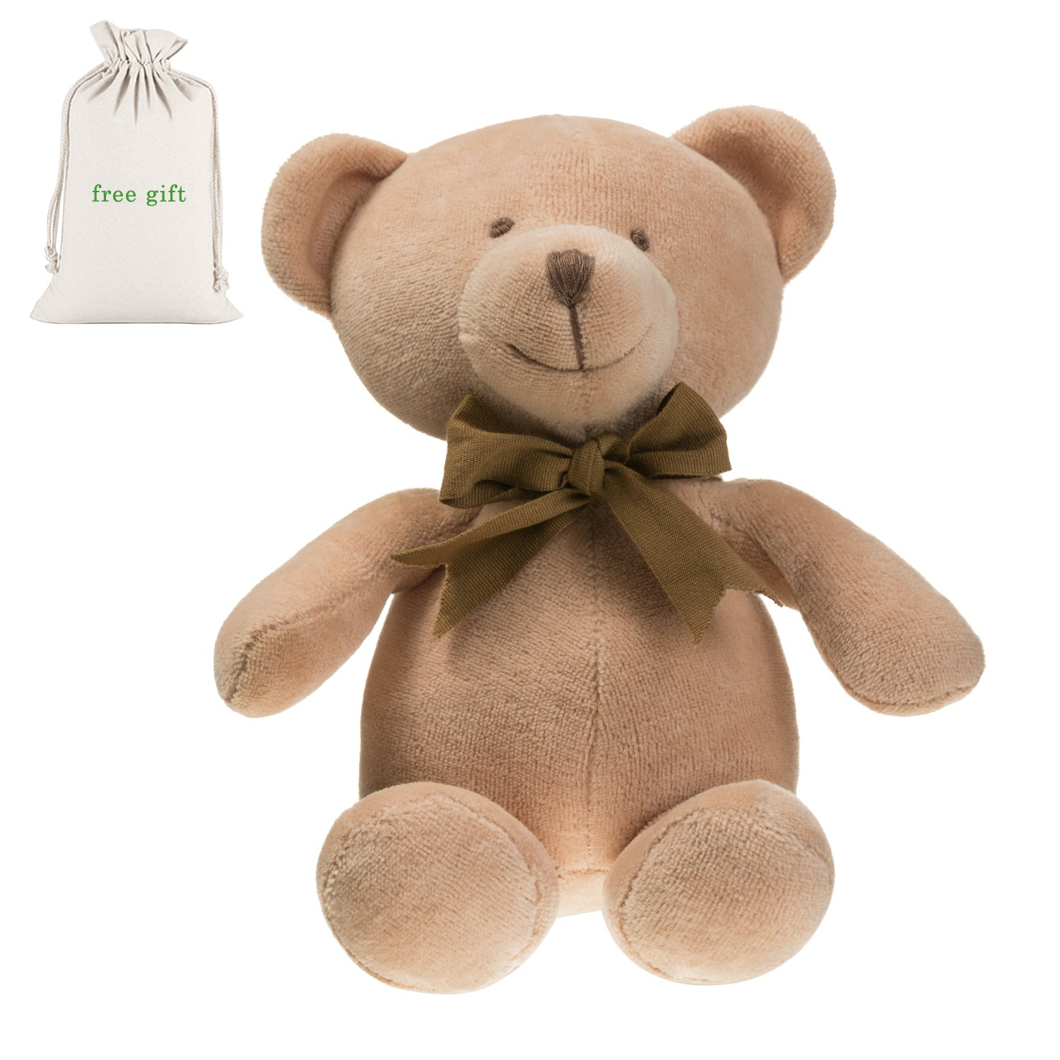Benaturalbaby 100% Organic Cotton Stuffed Animal Plush Teddy Bear (Baby First Lovely Teddy Bear), 7.9 inch