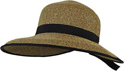 New AUGUST Toyo Straw Beach Floppy Hat Sun Protect Crushable Womens Black
