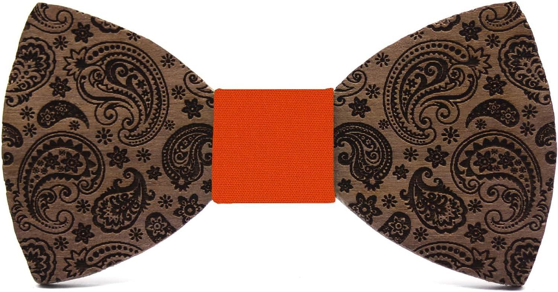 Mariage et c/ér/émonie Couleur tissu Boucle /élastique r/églable Cadeau original et /él/égant Collection de mode homme: Fait main Territorial Noeud papillon bois Paisley Cachemire