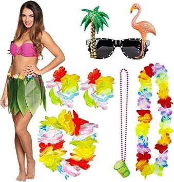 TRIXES Vestido de Lujo Hawaiano Colección de 7 piezas - Falda con ...