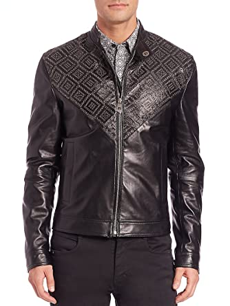 Amazon.com: Versace Collection Leather Bomber Jacket, Black ...