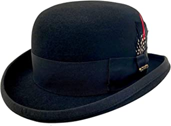 Bright demi-season bowler hat of merino wool mixture in four colours
