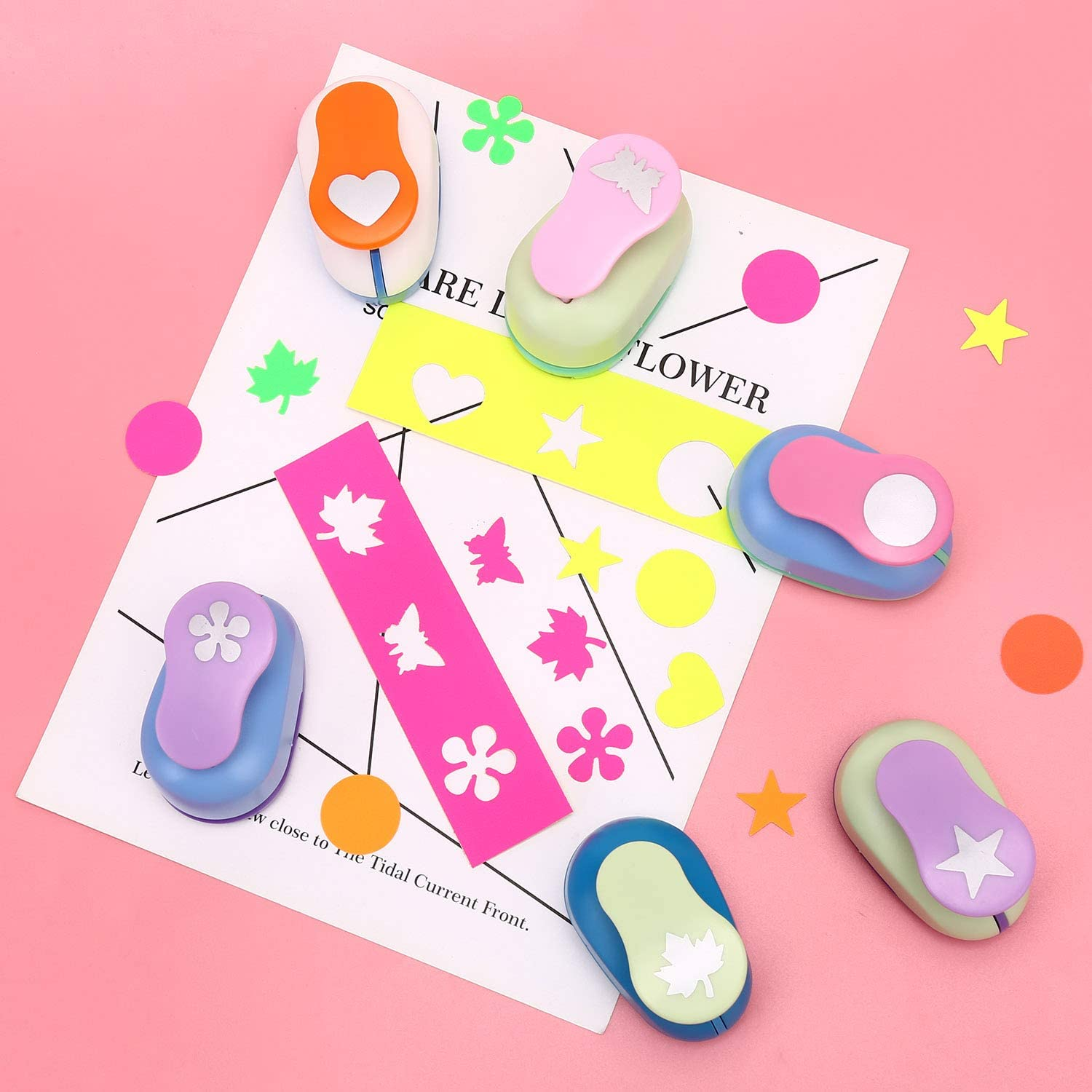 Color May Vary Heart Card Making Buytra Scrapbook Paper Punchers Hole Punch 1 Inch Square Punch 4 Shapes Including Circle Scrapbooking Star Shape Punches for Kids Paper Crafts