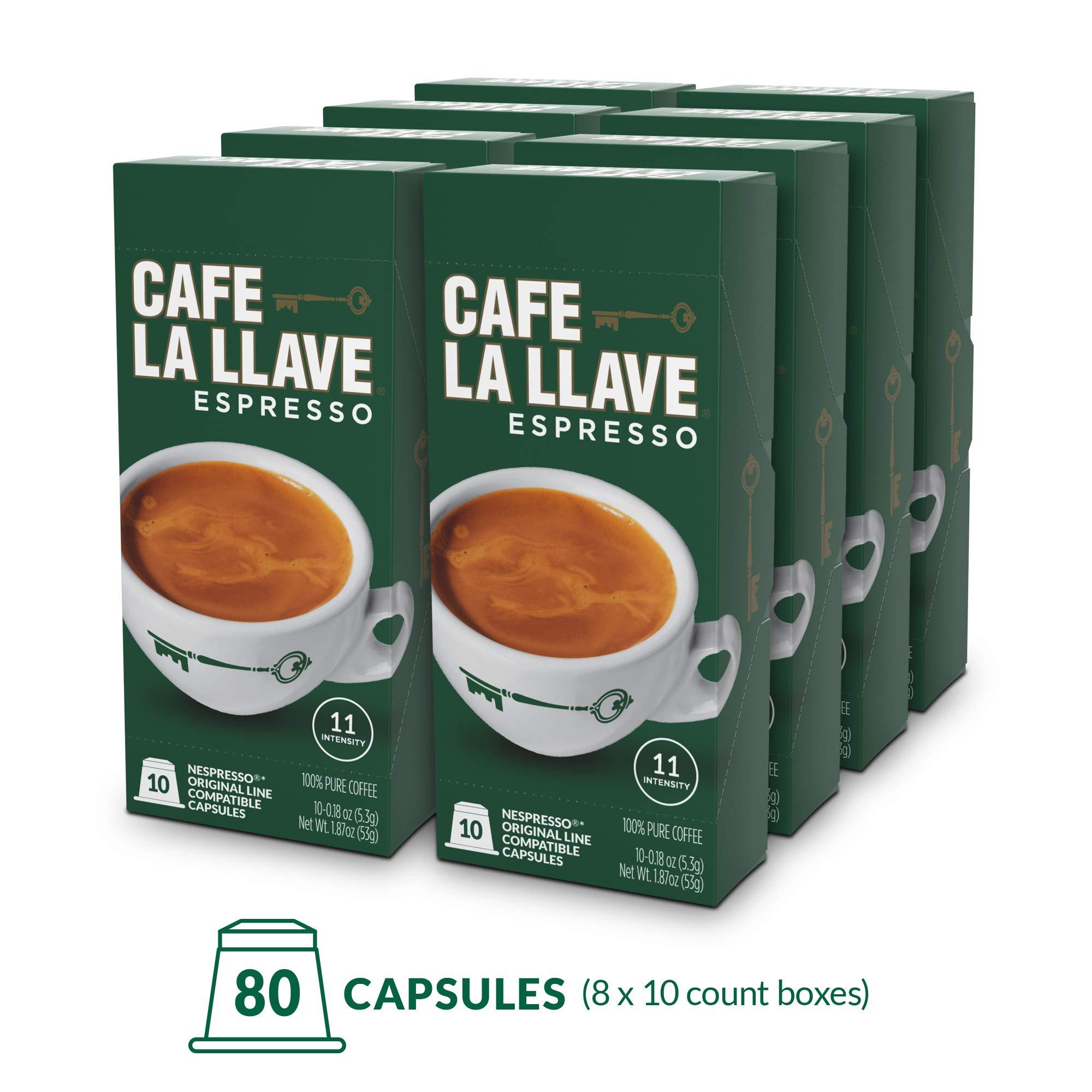 Café La Llave Espresso Capsules, Intensity 11 (80 Pods) Compatible with Nespresso OriginalLine Machines, Single Cup Coffee by Cafe La Llave